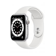 Apple Watch Series 6 GPS 44мм Aluminum Case with Sport Band, серебристый/белый