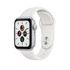 Apple Watch SE GPS 44мм Aluminum Case with Sport Band, серебристый/белый