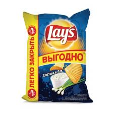 Чипсы Lay's картофельные Сметана и лук рифленые, 225 г