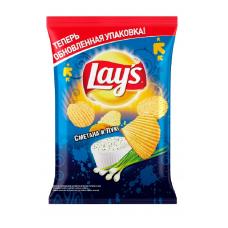 Чипсы Lay's картофельные Сметана и лук рифленые, 150 г