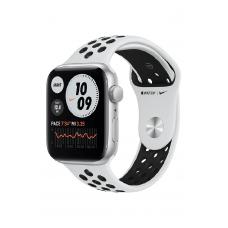 Apple Watch SE GPS 44мм Aluminum Case with Nike Sport Band, серебристый/чистая платина/черный